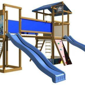 Уличная детская площадка песочница с двумя горками мостиком скалолазкой гладиаторской сеткой SportBaby-11