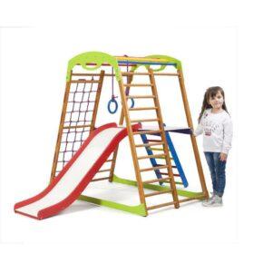 Акция! Деревянный Детский спортивный комплекс для дома с горок Спортбейби BabyWood Plus 2 SportBaby