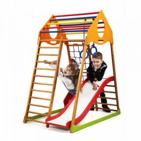 Акция! Деревянный Детский спортивный комплекс с горкой в квартиру Спортбейби KindWood Plus 1 SportBaby