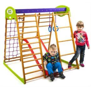 Акция! Деревянный Детский спортивный комплекс для квартиры Спортбейби Карамелька Plus 1