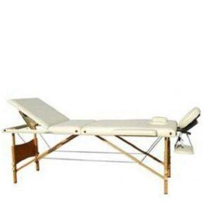 Массажный стол 3-х секционный (дерев. рама) кремовый HY-30110-1.2.3