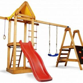 Уличная детская площадка с горкой, кольцами, лесенкой, качелями и песочницей для дачи и дома
