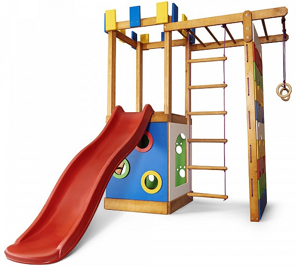 Уличная детская площадка с песочницей, горкой, лесенкой, рукоходом, стеной для скалолазания для дачи и дома
