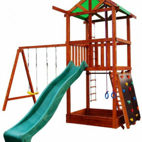 Уличная детская площадка с горкой, кольцами, качелями, веревочной лесенкой и песочницей для дачи и дома