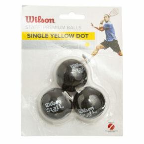 Мяч для сквоша WILSON STAFF SINGLE YEL DOT WRT618300 3шт черный