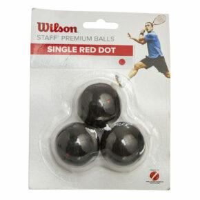 Мяч для сквоша WILSON STAFF SINGLE RED DOT WRT618200 3шт черный