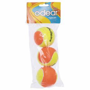 Мяч для большого тенниса ODEAR T966 3шт оранжевый-салатовый