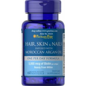 Hair Skin Nails infused with Moroccan Argan Oil — 60 softgels