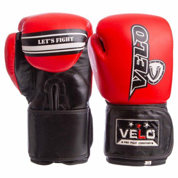 Перчатки боксерские кожаные VELO VL-8186 10-12 унций цвета в ассортименте
