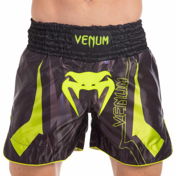Шорты для тайского бокса и кикбоксинга VNM SHARP VL-0212 S-L черный-салатовый