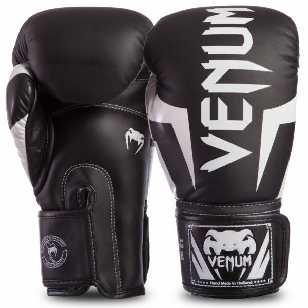 Перчатки боксерские кожаные VENUM ELITE VENUM-0984-108 10-14 унций черный-белый