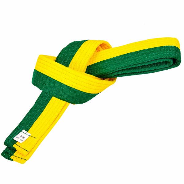 Пояс для кимоно двухцветный SP-Planeta BO-7256 длина-220-280см желтый-зеленый