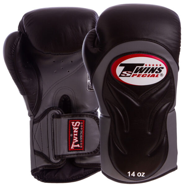 Перчатки боксерские кожаные TWINS BGVL-6-BK 10-16 унций черный-серый