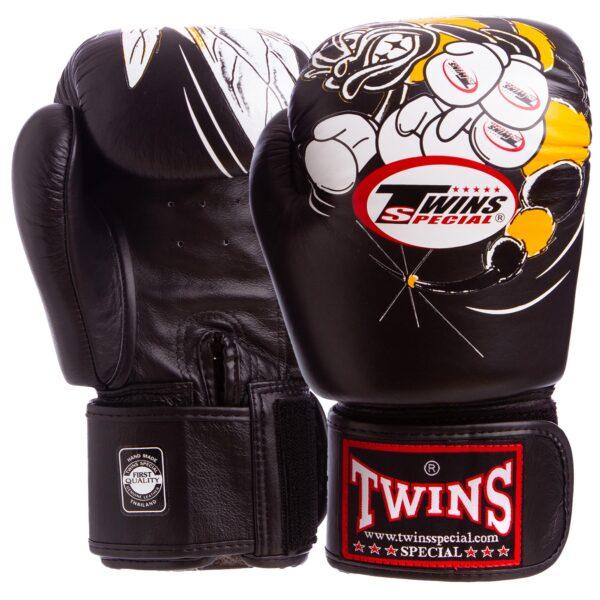 Перчатки боксерские кожаные TWINS FBGV-3-15-WH 10-18 унций черный