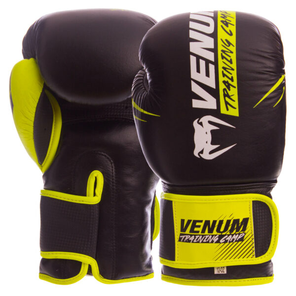 Перчатки боксерские кожаные VNM NEO VN-006 10-14 унций черный-салатовый
