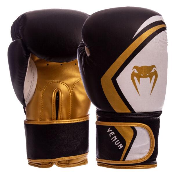 Перчатки боксерские кожаные VNM VN-009 10-14 унций черный-золотой