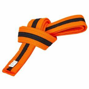 Пояс для кимоно двухцветный SP-Planeta BO-7262 длина-220-280см оранжевый-черный