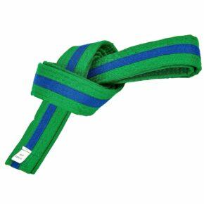 Пояс для кимоно двухцветный SP-Planeta BO-7263 длина-220-280см зеленый-синий
