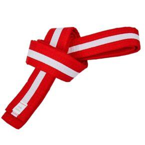 Пояс для кимоно двухцветный SP-Planeta BO-7264 длина-220-280см красный-белый
