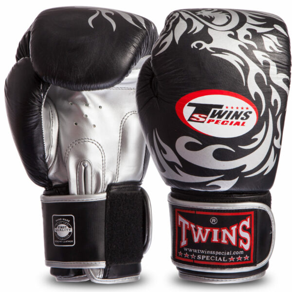 Перчатки боксерские кожаные на липучке TWINS-DRAGON-Rep (р-р 10-16oz) 0270-S
