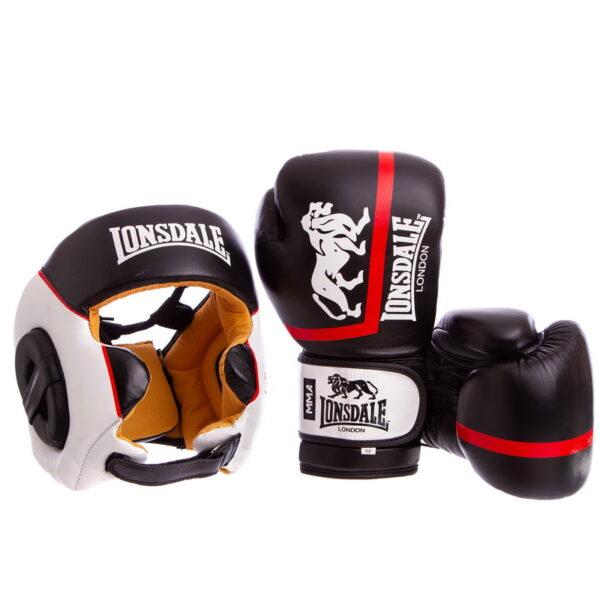 Комплект защиты для бокса шлем перчатки LND XPEED VL-8341-8340 M-XL 10-12 унций черный-белый