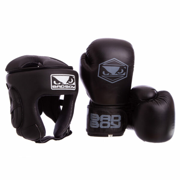 Комплект защиты для бокса шлем перчатки BDB STRIKE VL-6626-6615-BK M-XL 10-14 унций черный