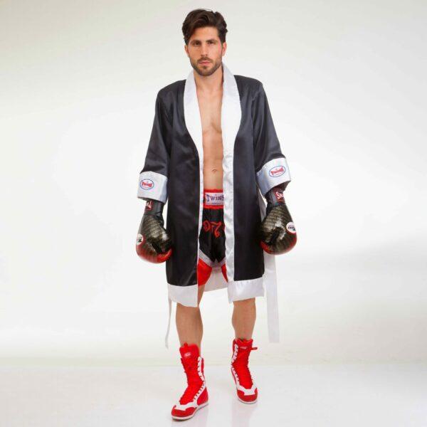 Халат боксерский TWINS FTR M-XL черный-белый