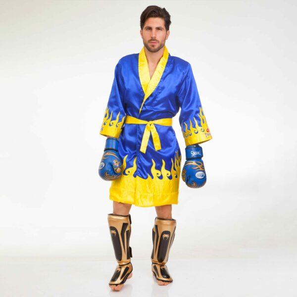 Халат боксерский TWINS FTR-2 M-XL синий-желтый