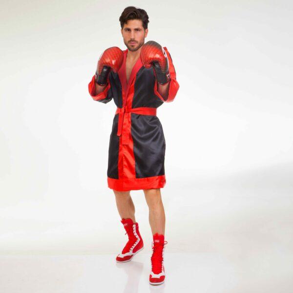 Халат боксерский с капюшоном TWINS FTR-3 M-XL черный-красный