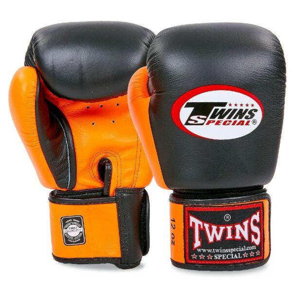Перчатки боксерские кожаные TWINS BGVL-3T 10-16 унций черный-оранжевый
