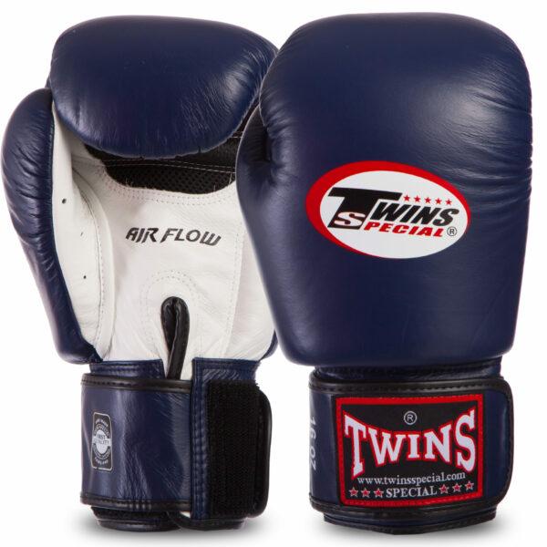 Перчатки боксерские кожаные TWINS BGVLA2-WHNVBK 10-16 унций темно-синий-белый