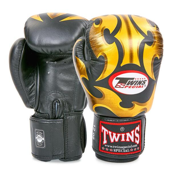 Перчатки боксерские кожаные TWINS FBGVL3-22GD-BK 10-18 унций черный-золотой