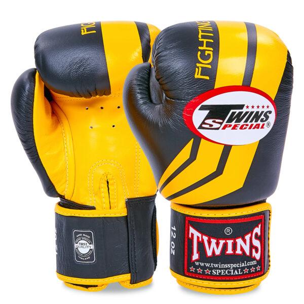 Перчатки боксерские кожаные TWINS FBGV-43Y-BK 10-16 унций черный-желтый