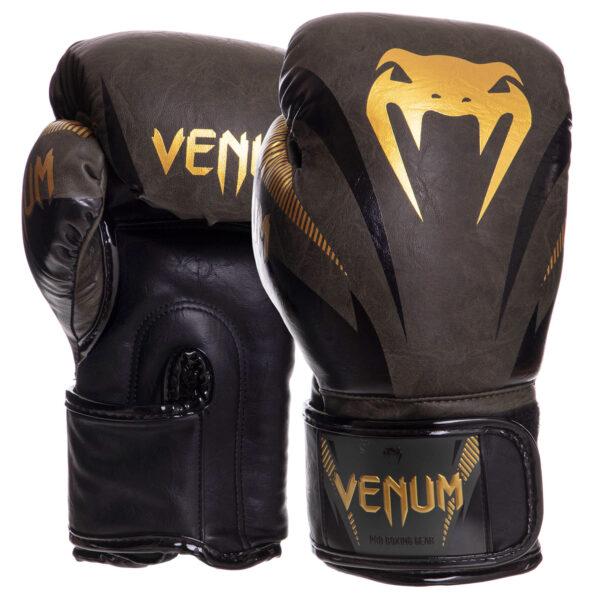 Перчатки боксерские кожаные VENUM IMPACT VN03284-230 10-14 унций хаки-золотой