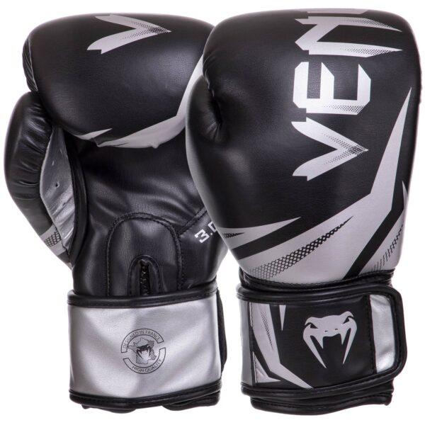 Перчатки боксерские кожаные VENUM CHALLENGER 3.0 VN03525-128 10-14 унций черный-серебряный