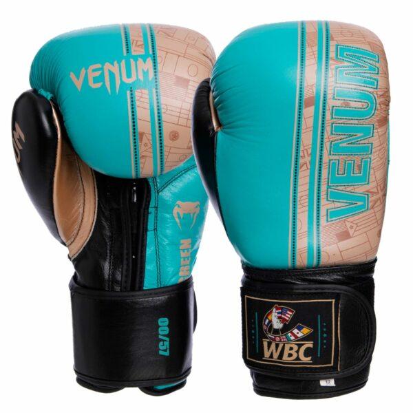 Перчатки боксерские кожаные VNM Shield Pro VL-1998 10-14 унций бирюзовый-золотой-черный