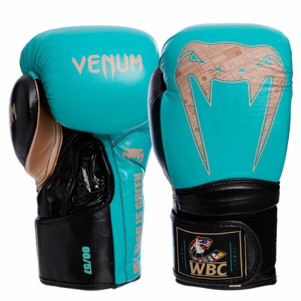 Перчатки боксерские кожаные VNM Giant 2.0 Pro VL-1999 10-14 унций бирюзовый-золотой-черный