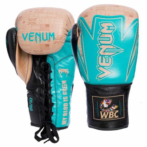 Перчатки боксерские кожаные професиональные на шнуровке VNM Hammer Pro VL-2021 10-14 унций бирюзовый-золотой-черный