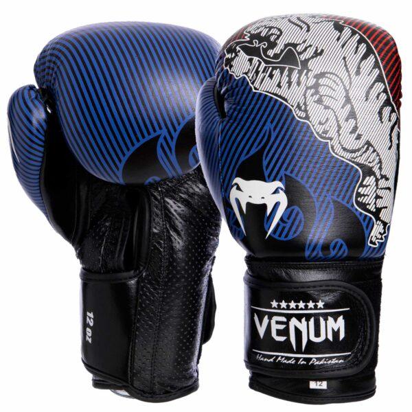 Перчатки боксерские кожаные VNM Tiger Legend VL-2044 10-14 унций черный-синий-бордовый