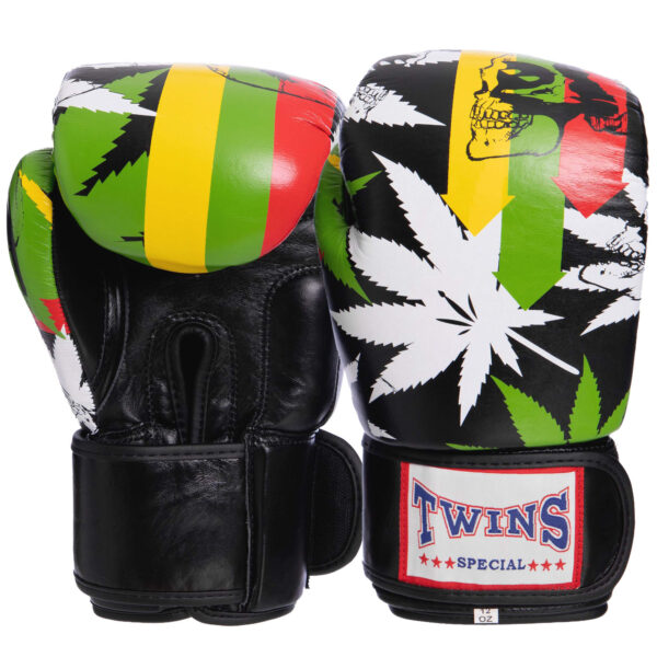 Перчатки боксерские кожаные TWN VL-2057 10-12 унций зеленый-черный