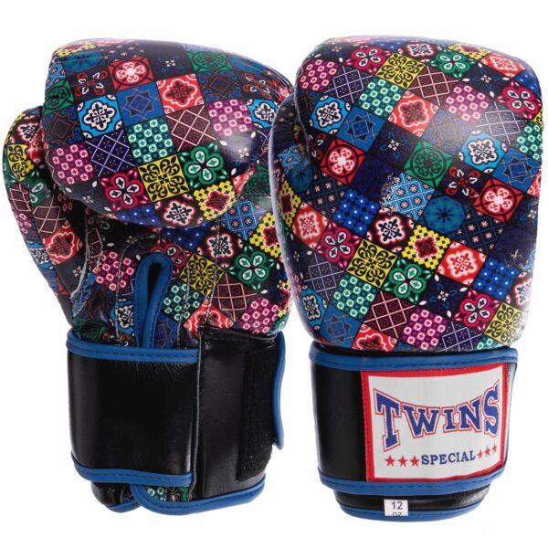 Перчатки боксерские кожаные TWN VL-2058 10-12 унций синий-черный