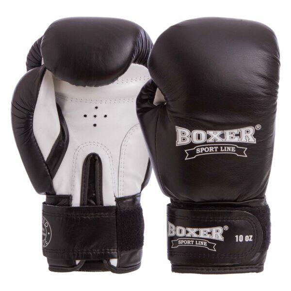 Перчатки боксерские кожаные BOXER 2023 10-12 унций цвета в ассортименте