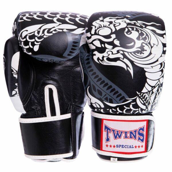 Перчатки боксерские кожаные TWN VL-2063 10-12 унций черный-белый