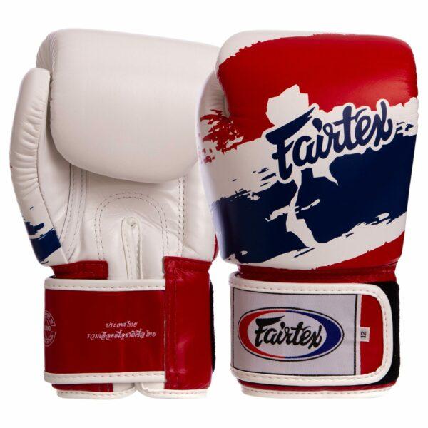 Перчатки боксерские кожаные FAIRTEX BGV1-THAI THAI PRINT 10-14 унций белый-синий-красный