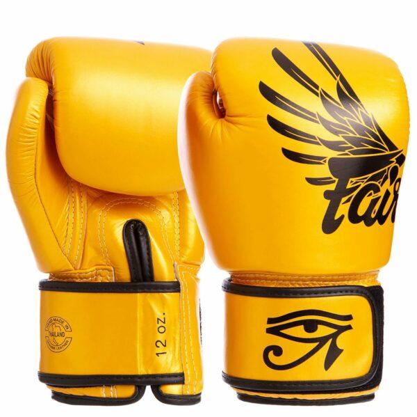 Перчатки боксерские кожаные FAIRTEX BGV1-FALCON 10-16 унций золотой-черный