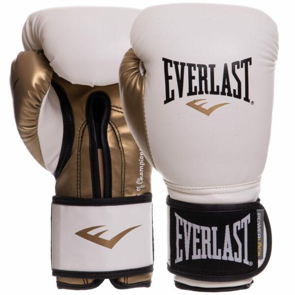 Перчатки боксерские EVERLAST POWERLOCK P00000722 12 унций белый-золотой