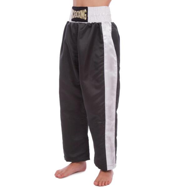 Штаны для кикбоксинга детские MATSA KICKBOXING MA-6731 6-14лет черный-белый