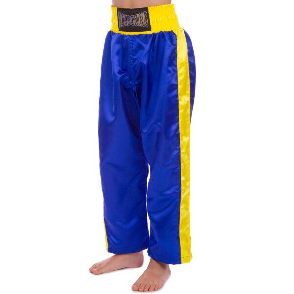 Штаны для кикбоксинга детские MATSA KICKBOXING MA-6732 6-14лет синий-желтый