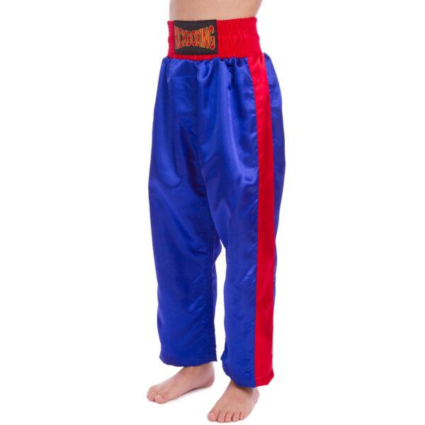 Штаны для кикбоксинга детские MATSA KICKBOXING MA-6733 6-14лет синий-красный