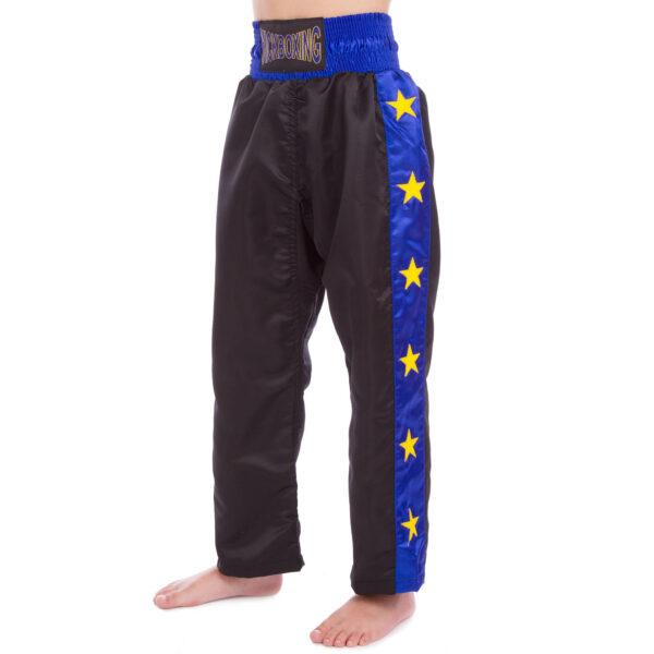 Штаны для кикбоксинга детские MATSA KICKBOXING MA-6734 6-14лет черный-синий
